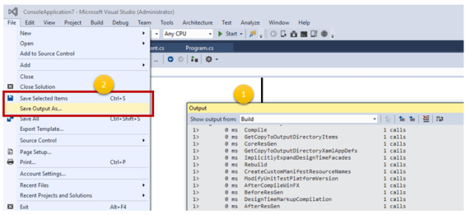 Did you know– you can save the Output Window content directly in Visual Studio ?