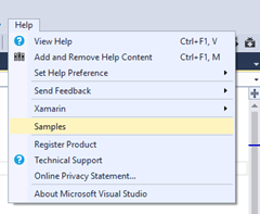 Did you know  – that you can get code samples from the Visual Studio itself ?