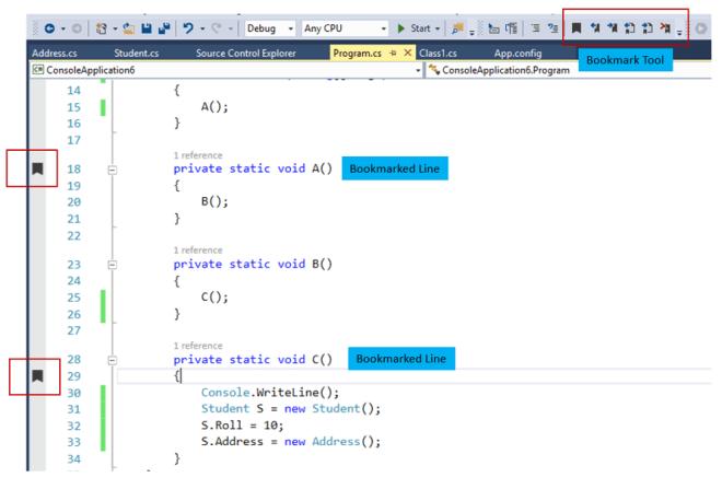 Speedup your code navigation by Bookmarking your code in Visual Studio
