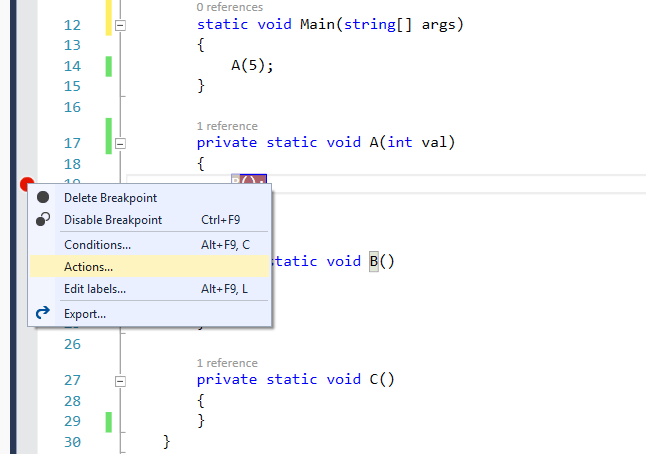 Using Trace points for performing custom action during debugging in Visual Studio