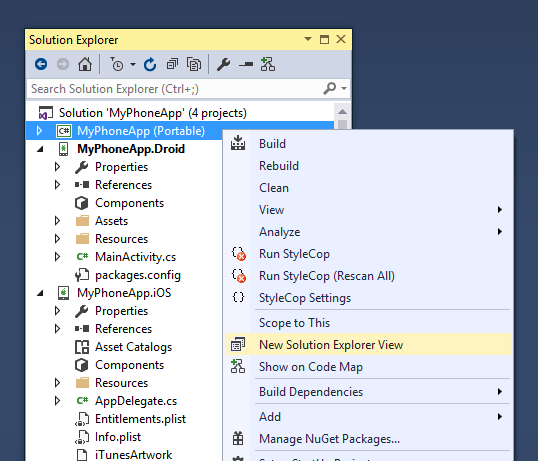 New Solution Explorer view