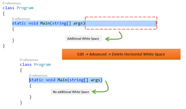 Delete horizontal white spaces from your code in Visual Studio