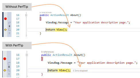 How to enable the PerfTip while debugging in Visual Studio incase you don't see it?