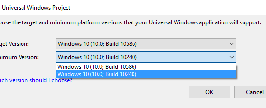 Selecting right version while creating your Universal Windows Platform (UWP) App