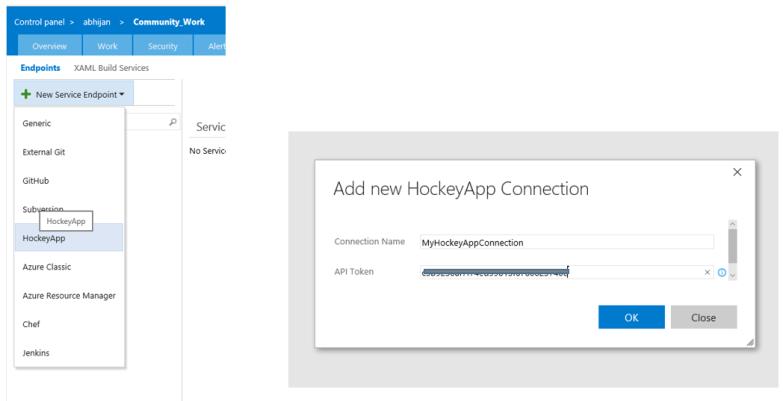Creating HockeyApp Connection