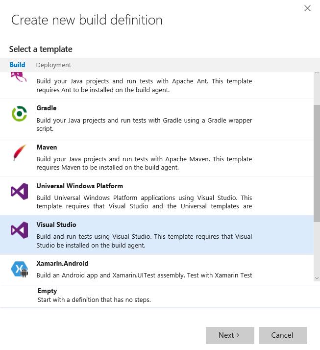 List of Build Definition