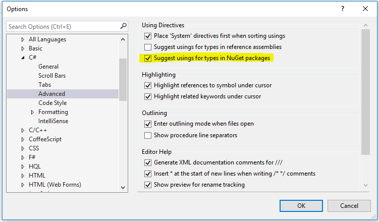Suggest usings for types in Nuget packages