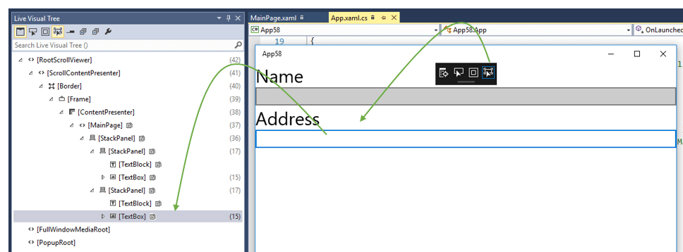 "Track Focused Element – ""In-App XAML Inspection Toolbar"" – Visual Studio 2015"