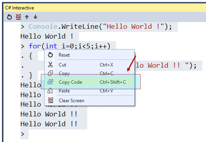 """Did you know –  you can just """"copy the code"""" as well from C# Interactive Window ?"""
