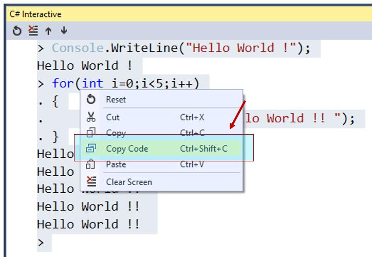 Copy Code - C# Interactive Window