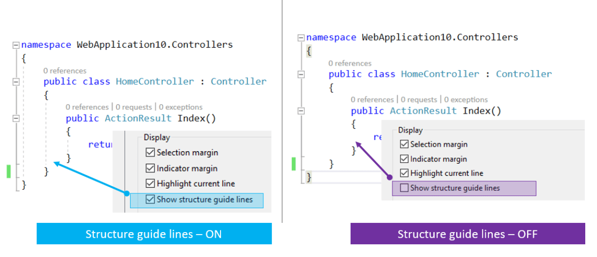 """Turning On/Off """"Structure Guide Lines"""" in Visual Studio 2017"""
