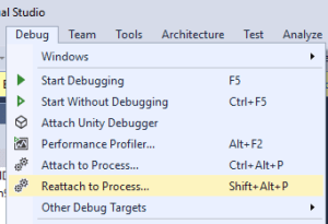 Simplified Process Attaching – Reattach to Process in Visual Studio 2017