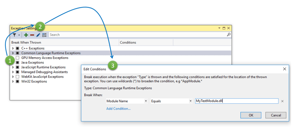 Set Conditions for Exception in Visual Studio 2017