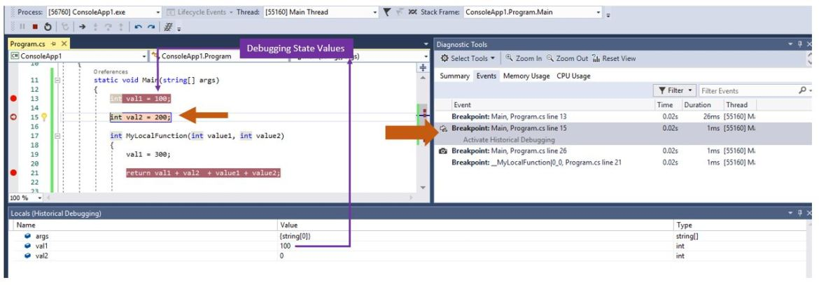 Step-back while debugging with IntelliTrace in Visual Studio 2017