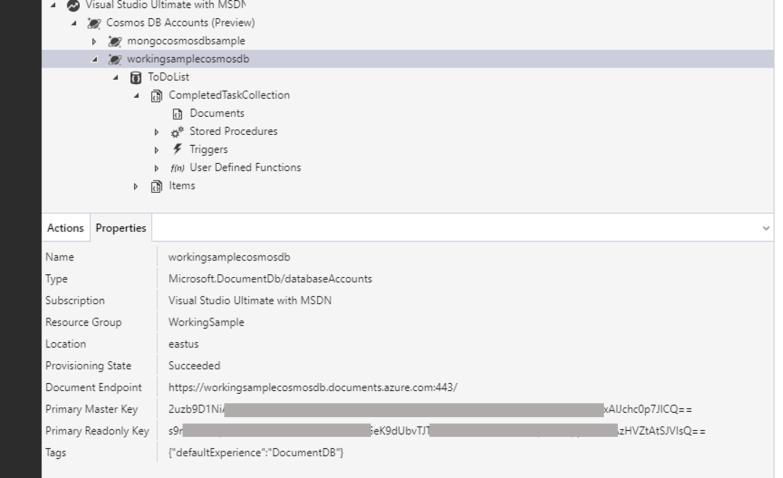 Azure Storage Explorer for Cosmos DB - Properties Pane