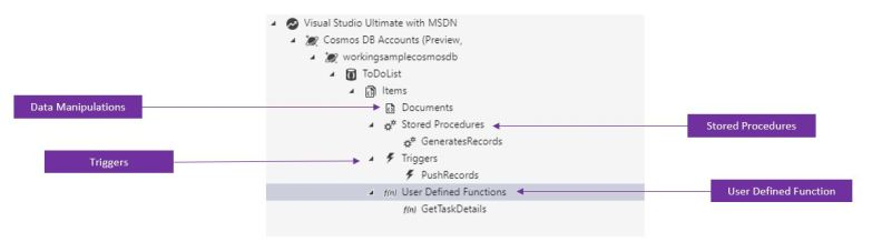 Azure Storage Explorer for Cosmos DB - Create Function, Stored Procedure, Triggers