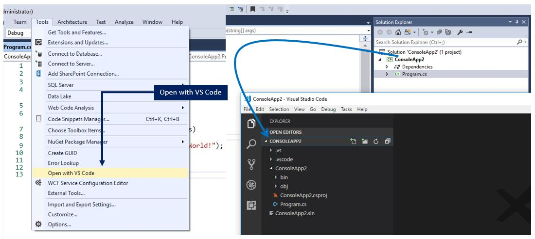 Open your current project in Visual Studio Code directly from Visual