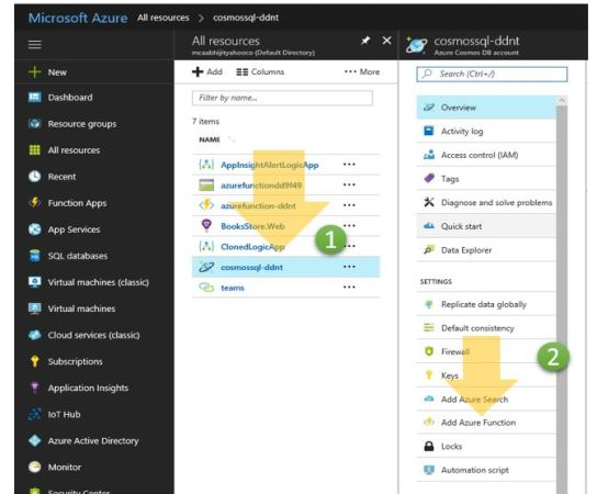 Add an Azure Cosmos DB trigger to an existing Azure Function app from Azure Cosmos DB Portal