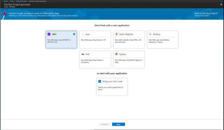 Azure DevOps Project - Choose Type of Project