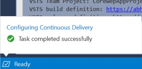 Continuous Delivery setup Progress from Visual Studio Completed