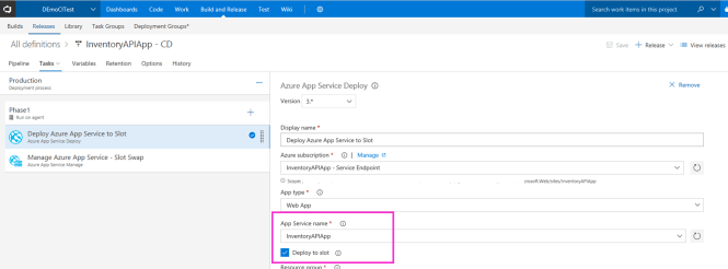 Release Definition  - Release Definition - Setting up Continuous Delivery for Azure App Services from Azure Portal