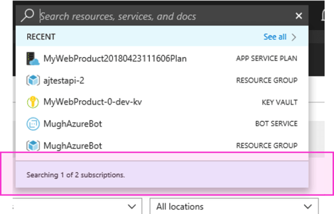 Global Subscription Filtering in Azure Portal: Azure Portal Search Filtering