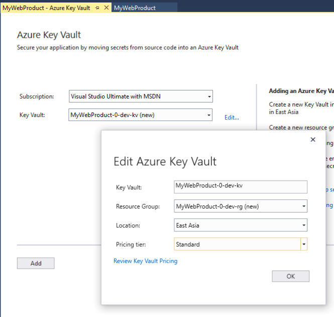 Azure Key Vault connected service in Visual Studio : Create New Azure Key Vault