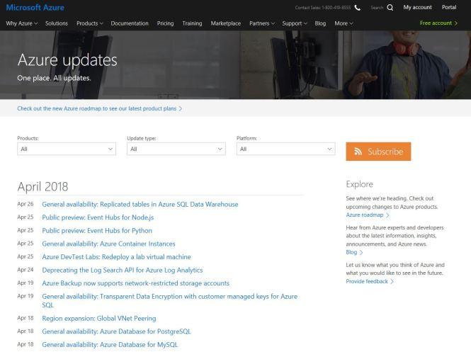 Microsoft Azure Updates
