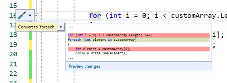 Visual Studio Tip:  Quick Actions and Refactoring – Quickly convert for-to-foreach