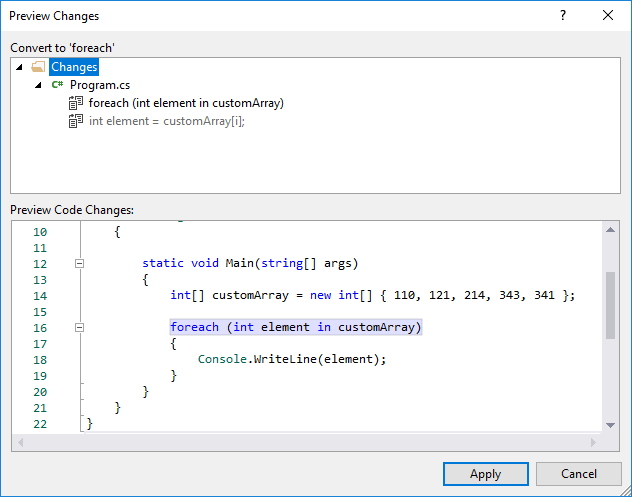 convert for-to-foreach : Quick Action Preview Changes