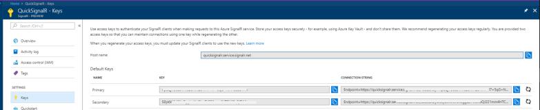 Azure SignalR Service - Get Access Keys