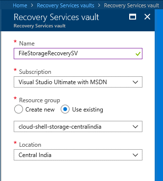 Azure cloud backup for Azure File Shares - Recovery Service Vault