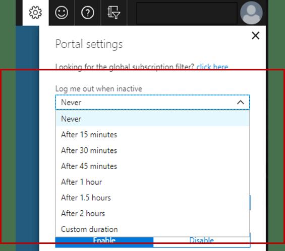 Configure Azure Portal Auto Logout - Set Timeout