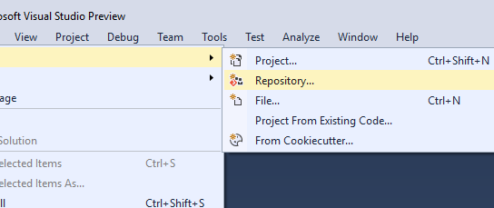Create local git repository in Visual Studio – Quick way