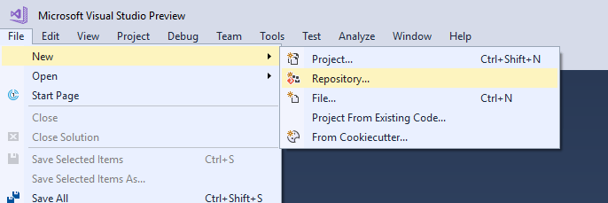 Create local git repository in Visual Studio : Create Git Repository