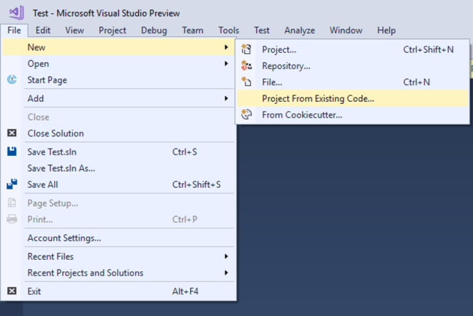 Create a Project from Existing Code Files - Visual Stuio