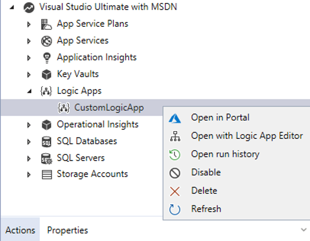 Managing Azure Logic Apps - Visual studio Cloud Explorer