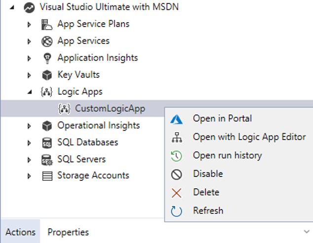 Managing Azure Logic Apps - Visual studio Cloud Explorer