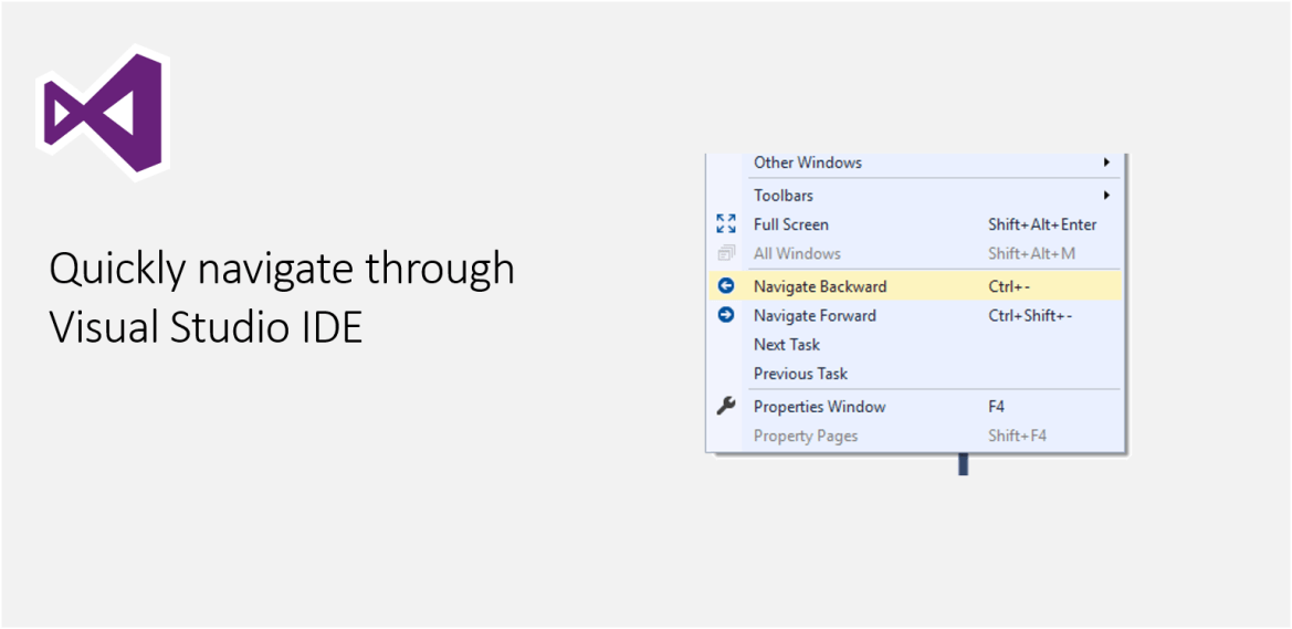 Quickly navigate through Visual Studio IDE