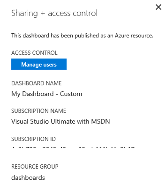 Share Azure Portal Dashboard - Access Control Manage Users