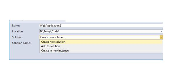 """Did you know – There is a """"Solution"""" drop-down option in New Project Dialog Window in Visual Studio?"""