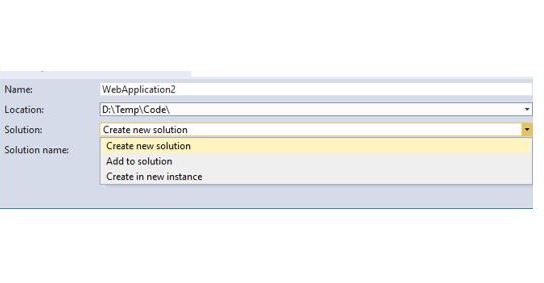 "Did you know – There is a ""Solution"" drop-down option in New Project Dialog Window in Visual Studio?"