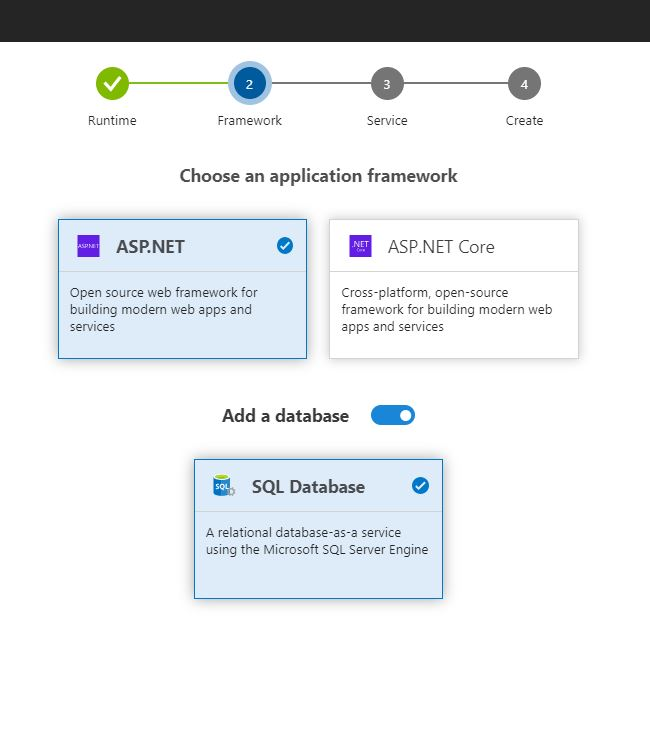Add Azure SQL Server Database with Azure DevOps Project - Add a database