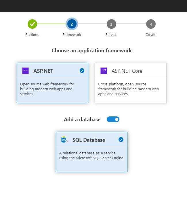 Add Azure SQL Server Database with Azure DevOps Project - Add a database