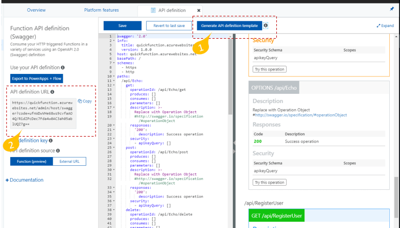 Generate the OpenAPI Specification for Azure Function Apps - Generate API Definition Template