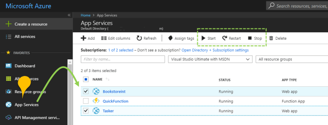How to start or stop multiple Azure App Services together