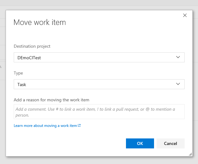 Move a work item to another VSTS team project - Select Project Team