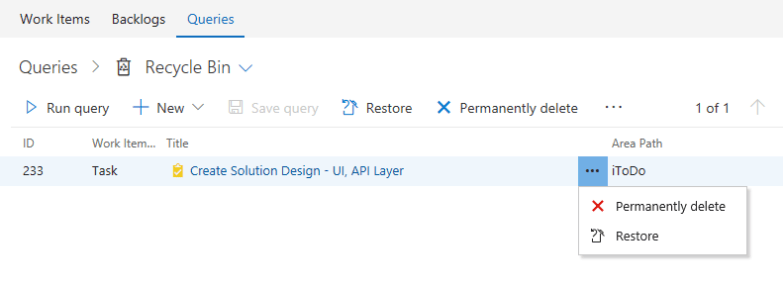 Restore deleted work items in VSTS - Restore