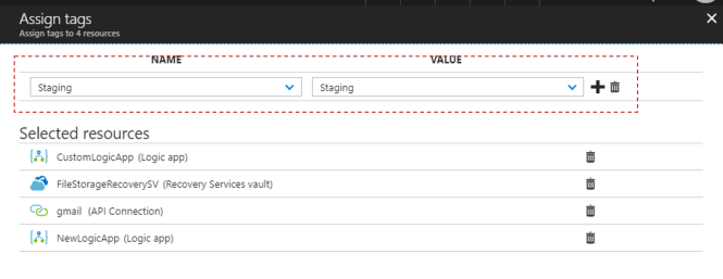 Tag multiple Azure Resources from Azure Portal - Tags Name