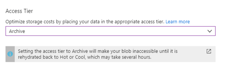 Azure Blob Rehydration - Change Access Tier